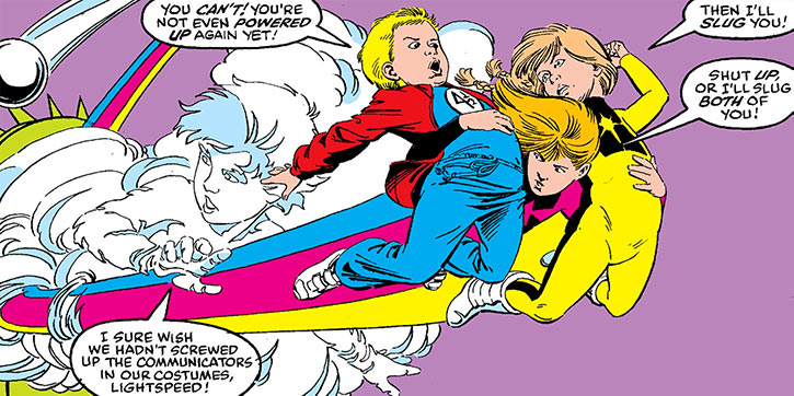 Lightspeed (Julie Power) and the rest of Power Pack (plus Franklin)