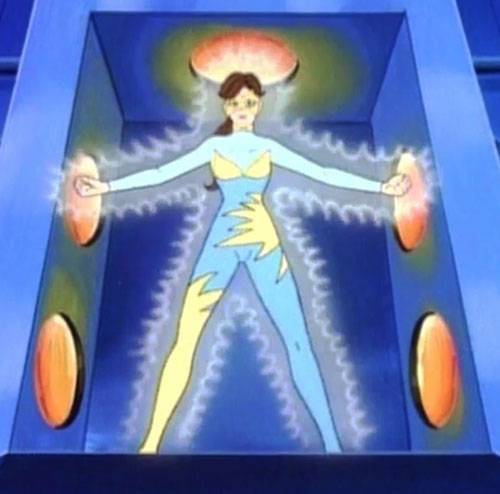Lightwave (Spider-Man Amazing Friends cartoon) (Iceman sister) radiating charged