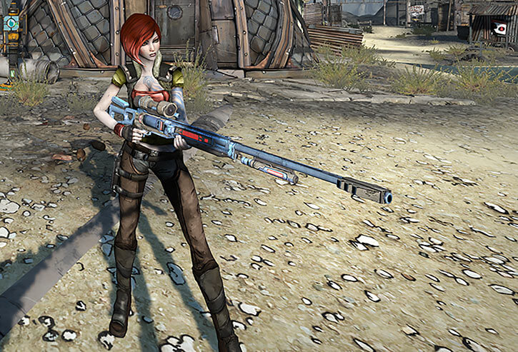 Lilith with a blue sniper rifle