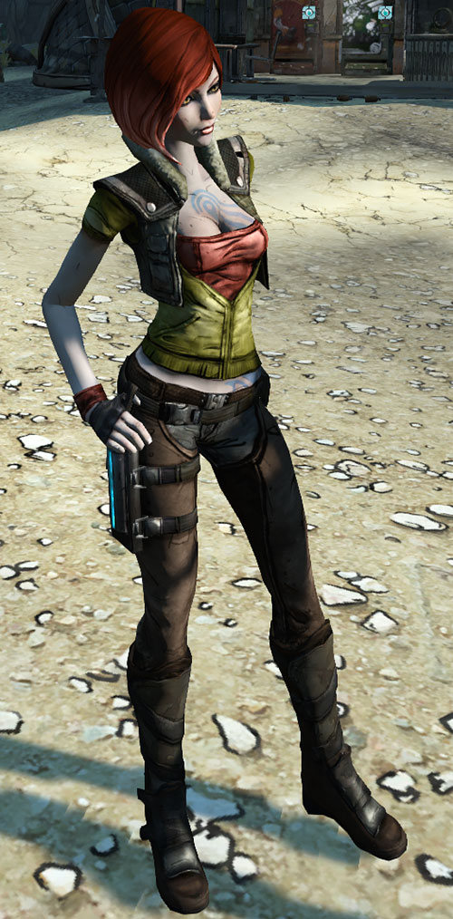 Lilith (Borderlands 1 video game) cleavage hands on hips