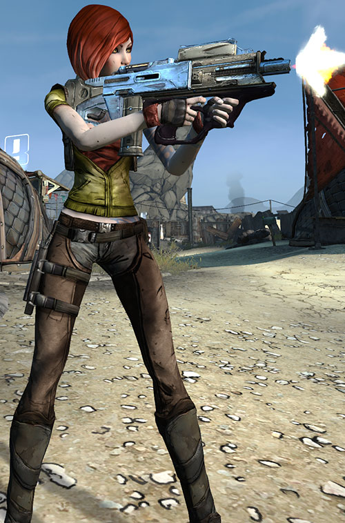 Lilith (Borderlands 1 video game) firing a bullpup rifle