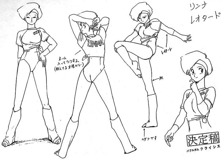 Linna's character design model sheet