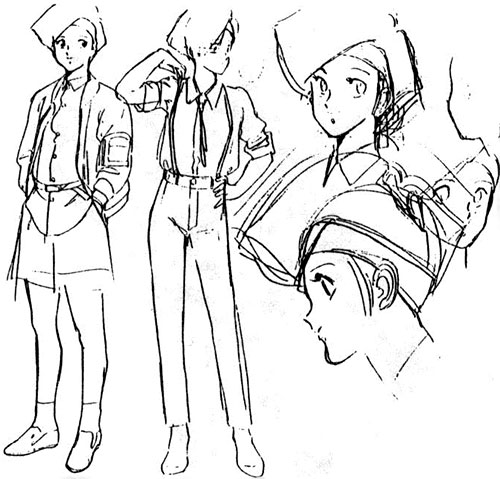 Linna Yamazaki of the Knight Sabres (Bubblegum Crisis) character design sheet