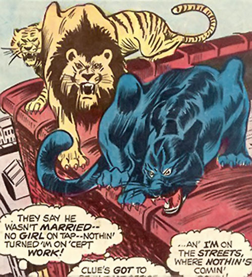 Lionfang (Luke Cage enemy) (Marvel Comics) big cats stalking on a rooftop