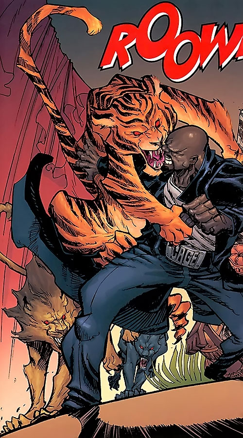 Lionfang (Luke Cage enemy) (Marvel Comics) cats attacking a modern Luke Cage