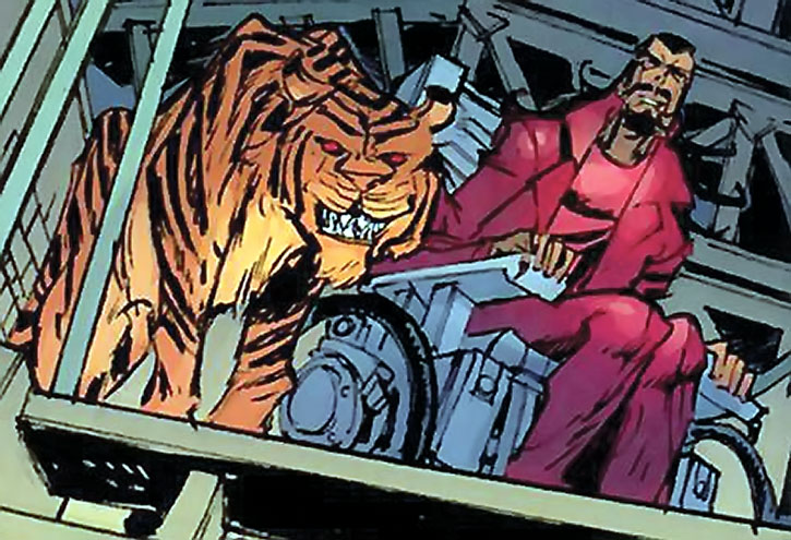 Lionfang in a wheelchair, with a tiger at his side