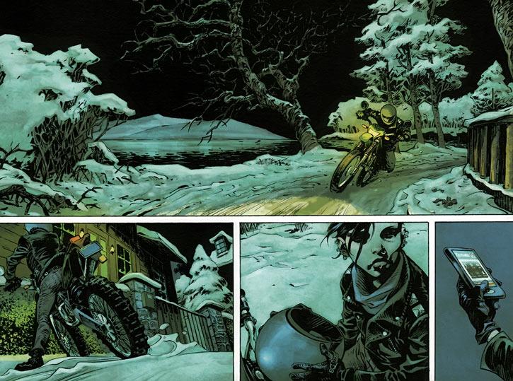 Lisbeth Salander riding her bike, comic book