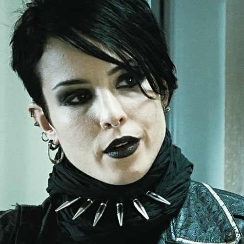Lisbeth Salander (Movie version) (Noomi Rapace take) smiling face closeup
