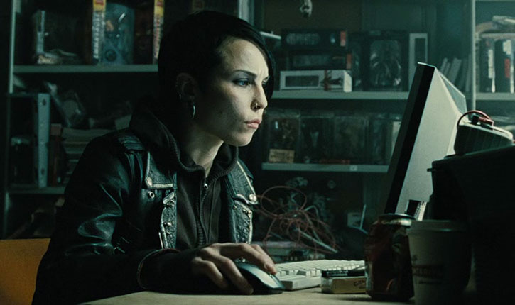 Lisbeth Salander (Noomi Rapace) working on a computer