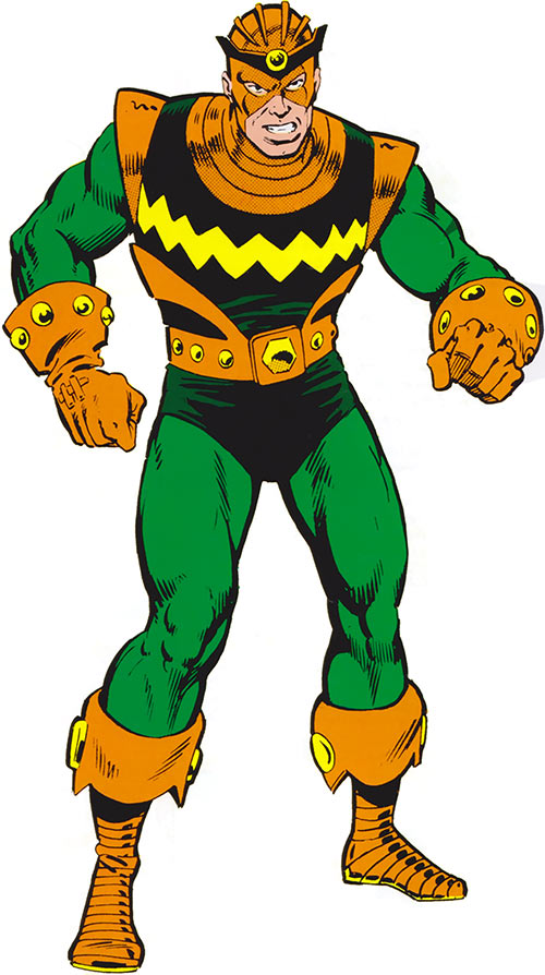 Living Laser (Early) (Marvel Comics) (Avengers enemy) green and orange costume