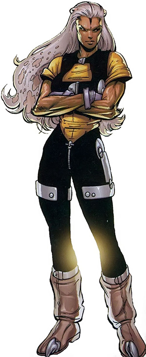 Lizard Lady (Crossgen Negation comics) in a black and gold jumpsuit
