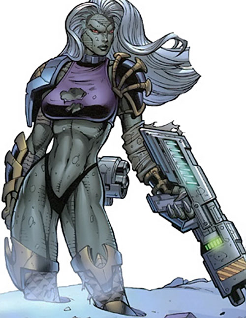 Lizard Lady (Crossgen Negation comics) with big guns