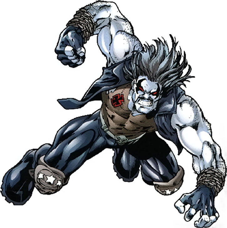 Lobo in mid-leap on a white background