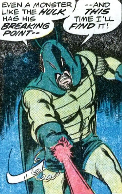 Locust (Marvel Comics) using a beam weapon