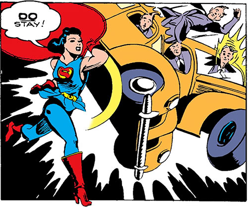 Superwoman (Lois Lane in 1943) (Action Comics 60) punches cars