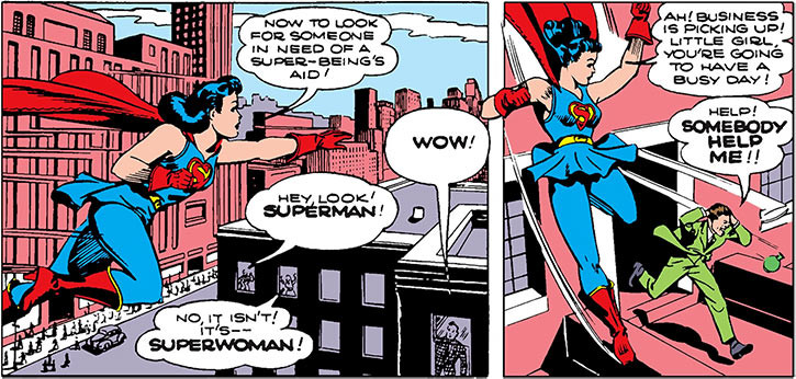 Superwoman (Lois Lane in 1943) (Action Comics 60) patrols the city
