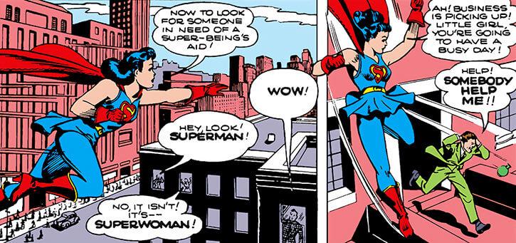 Superwoman (Lois Lane in 1943) (Action Comics 60) patrols the city