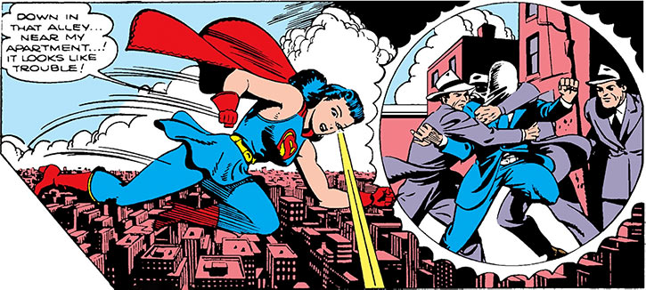 Superwoman (Lois Lane in 1943) (Action Comics 60) uses telescopic vision