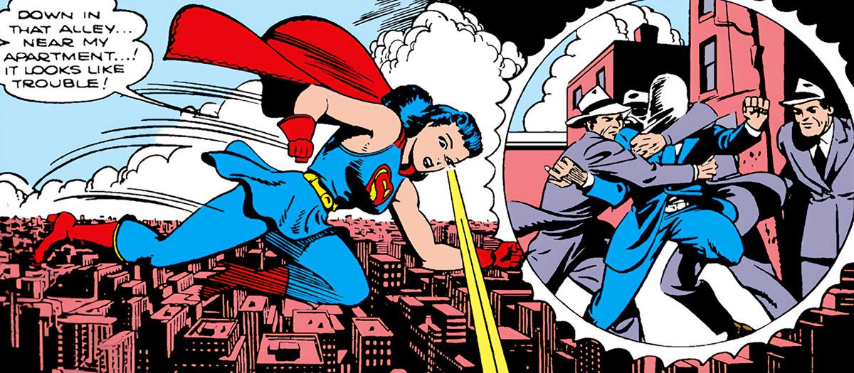 Superwoman (Lois Lane in 1943) (Action Comics 60) uses telescopic vision