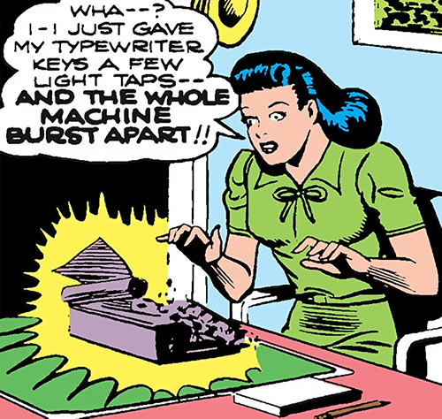 Superwoman (Lois Lane in 1943) (Action Comics 60) breaks her typewriter