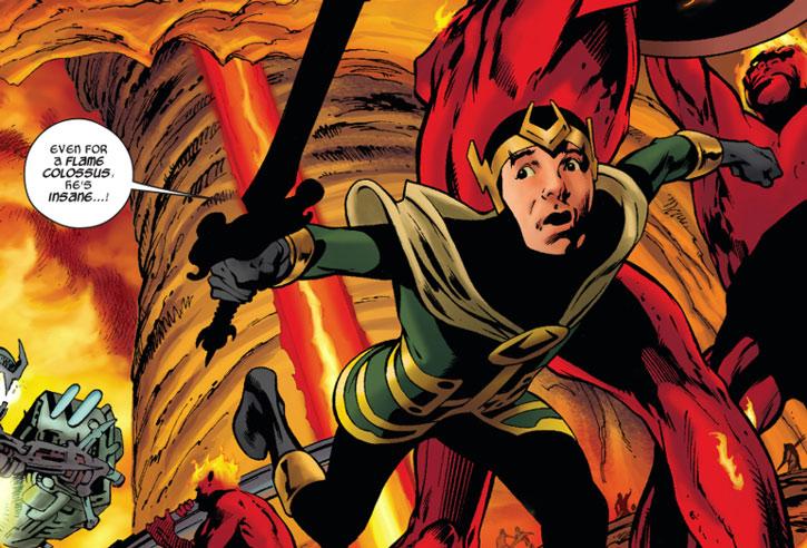 Loki as a kid, fleeing sword in hand