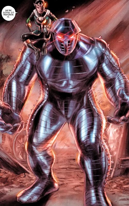Kid Loki (Marvel Comics Journey into Mystery) sitting on the Destroyer's shoulder