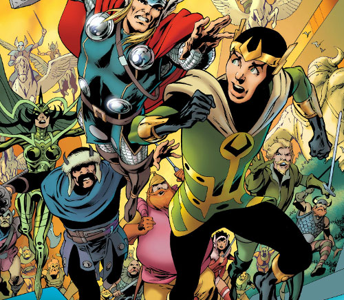 Kid Loki (Marvel Comics Journey into Mystery) chased by many Asgardians
