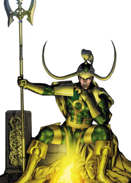 Loki (Thor character) (Marvel Comics) sitting by a fire with a polearm