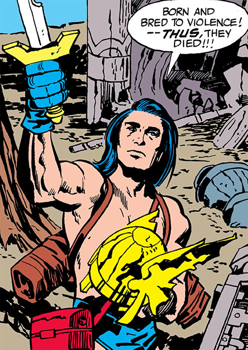 Lonar of Kirby's New Gods (DC Comics 4th world) examines a sword and a winged helmet