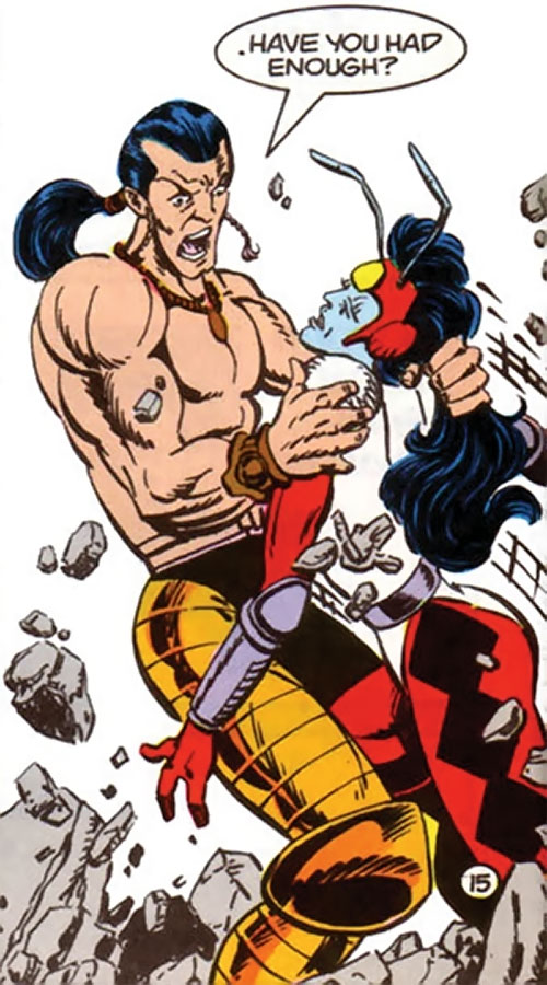 Lonar of Kirby's New Gods (DC Comics 4th world) fighting the female Forager
