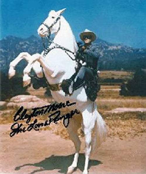 The Lone Ranger (Clayton Moore) riding Silver