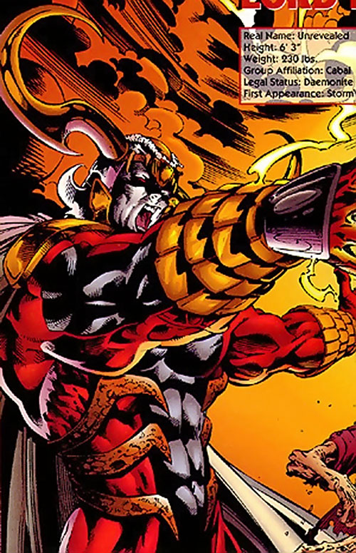 Lord Defile of the Cabal (Stormwatch enemy) (Image Comics) and flames