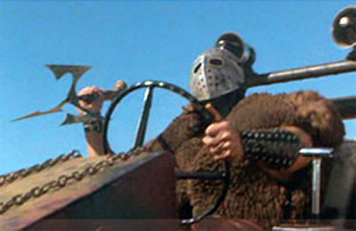 Lord Humungus (Kjell Nilsson in Mad Max) with a throwing spear