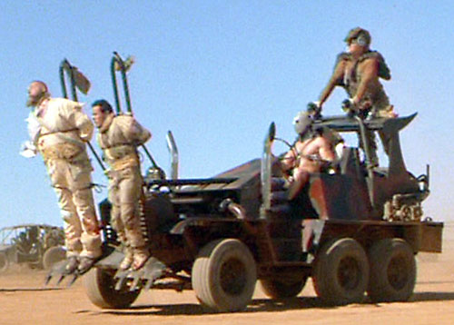 Lord Humungus (Kjell Nilsson in Mad Max)'s car with bound prisoners