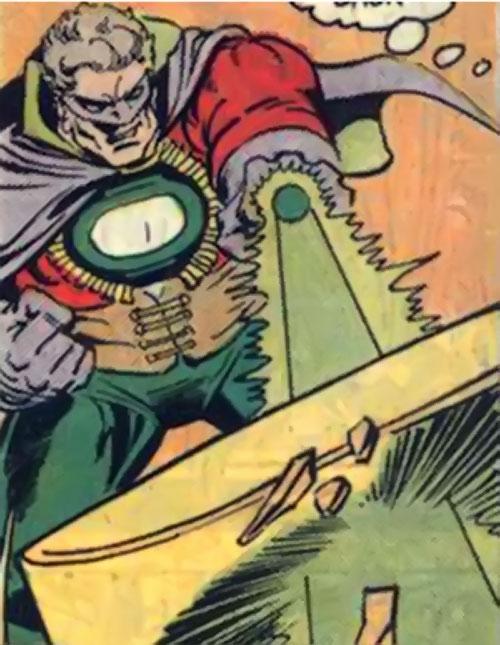 Lord Malvolio (Green Lantern enemy) (DC Comics) blasts through a yellow construct
