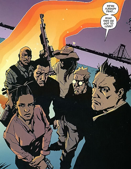 The Losers (DC Comics) team near a suspension bridge