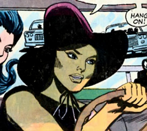 Lu Shan (Wonder Woman enemy) (DC Comics) driving with a violet hat