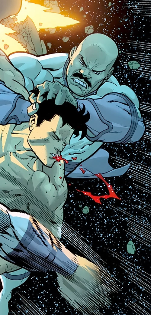Lucan of the Viltrumites (Invincible Comics) fighting in space
