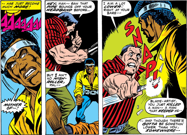 A man attempts to knife Power Man (Luke Cage)