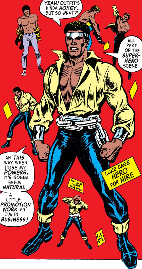 Luke Cage the 1970s hero for hire (Marvel Comics) puts on his costume