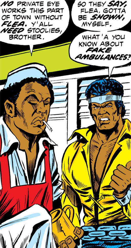 Luke Cage the 1970s hero for hire (Marvel Comics) and a stoolie at a diner