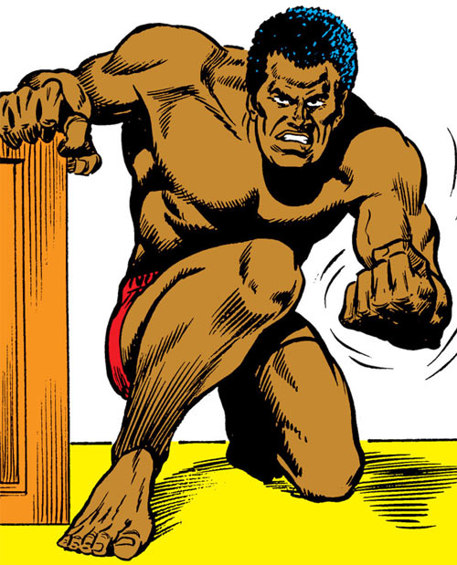 Luke Cage the 1970s hero for hire (Marvel Comics) in boxer shorts