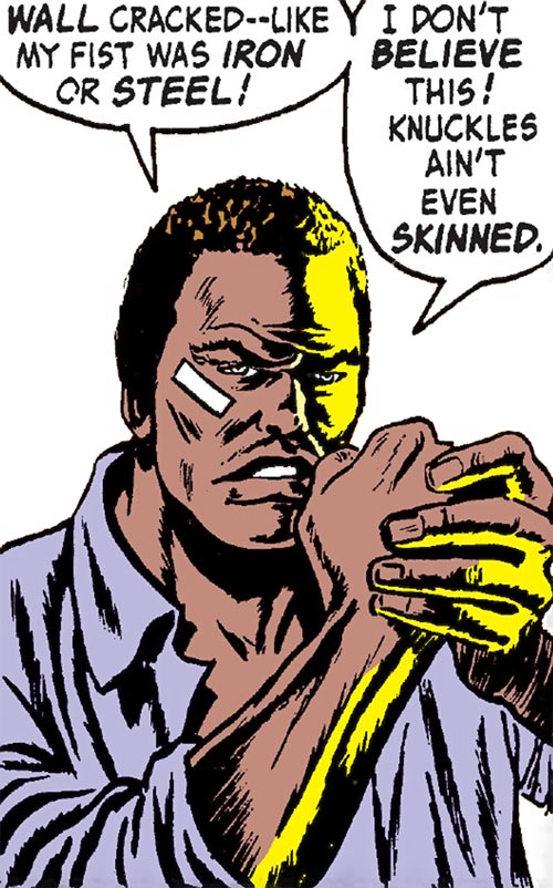 Luke Cage the 1970s hero for hire (Marvel Comics) in his prison uniform