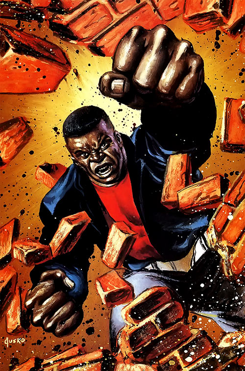 Luke Cage (1990s Marvel Comics) bursting through a wall, by Jusko