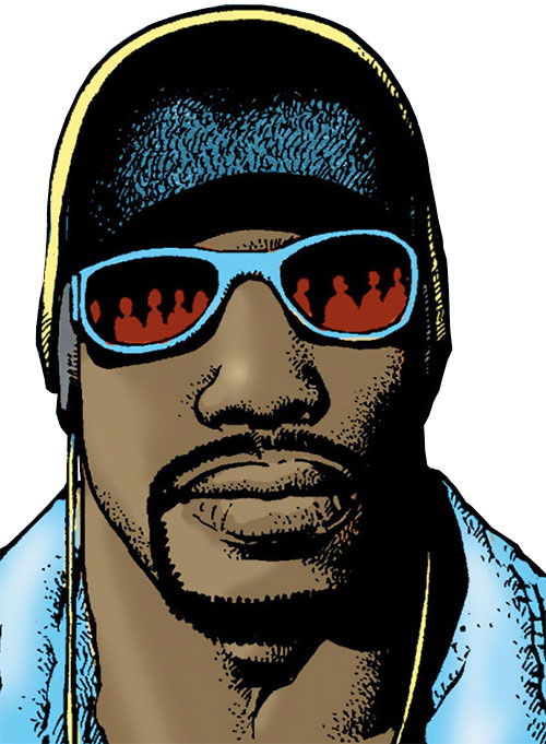 Luke Cage Max (Marvel Comics) face closeup with hater blockers and woolly hat