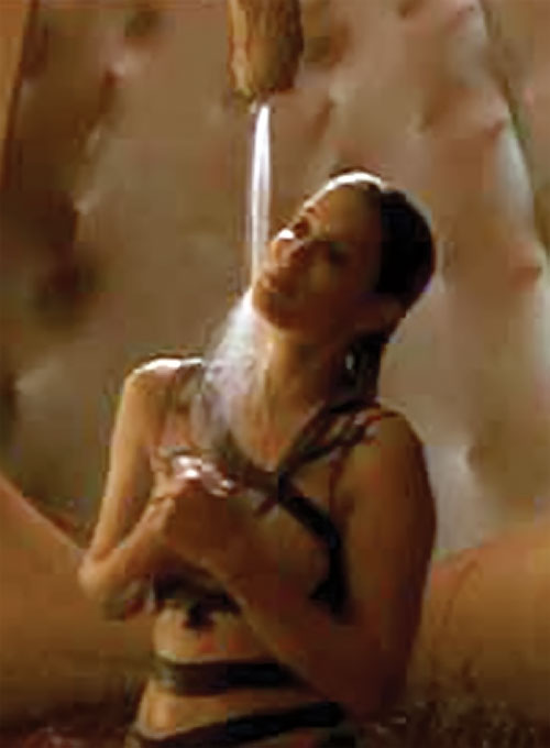 Lyekka of the LEXX crew showering