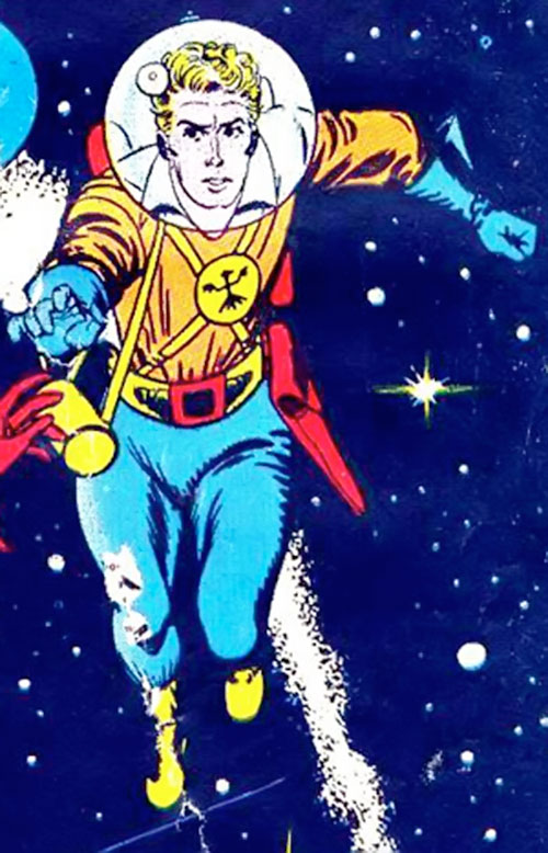 Lyle of the Galaxy Knights (DC Comics) reaching out in space