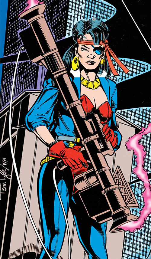 Lynx (Robin enemy) (DC Comics) with a missile launcher