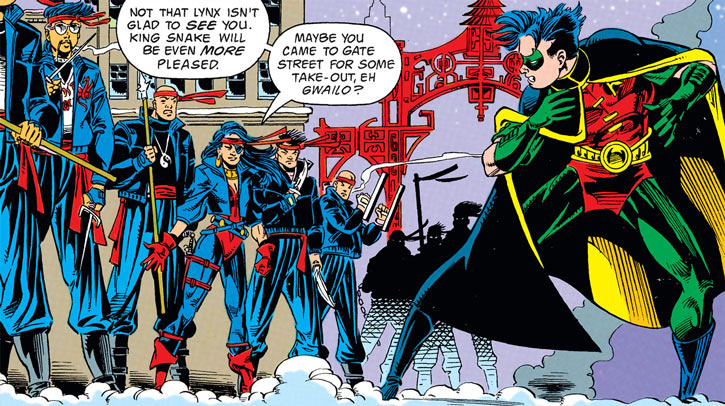 Lynx and Ghost Dragons enforcers (DC Comics) face Robin in a snowy street