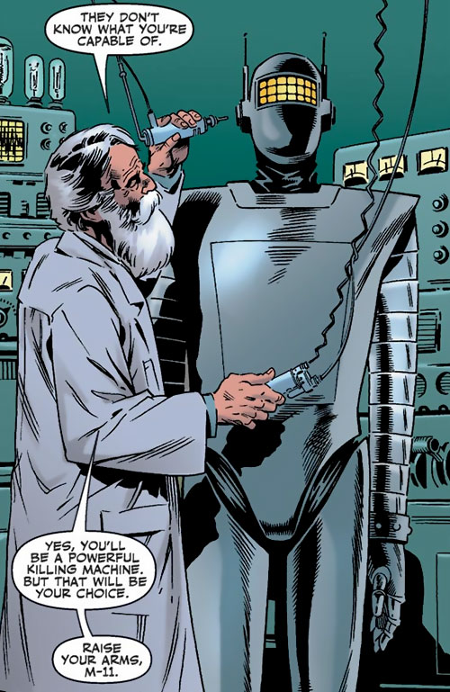 The scientist building M11 the human robot (Agents of Atlas character) (Marvel Comics)